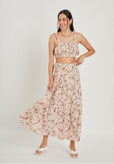 Σετ φούστα με τοπ floral