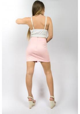 Ροζ suede φούστα