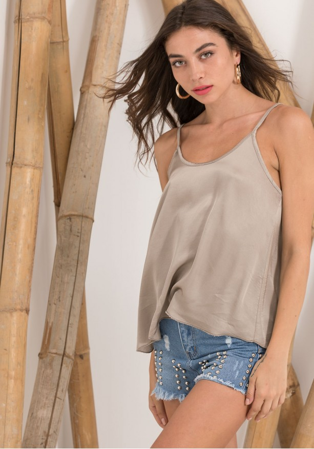 Σατέν αέρινη μπλούζα